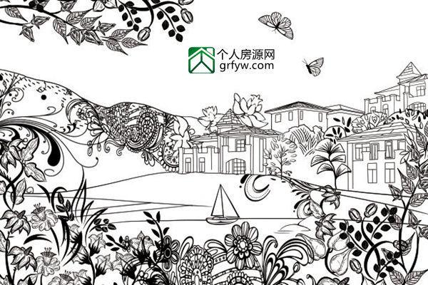 苏州园林手绘图画